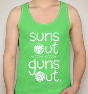 beach volleyball tank top suns out guns out